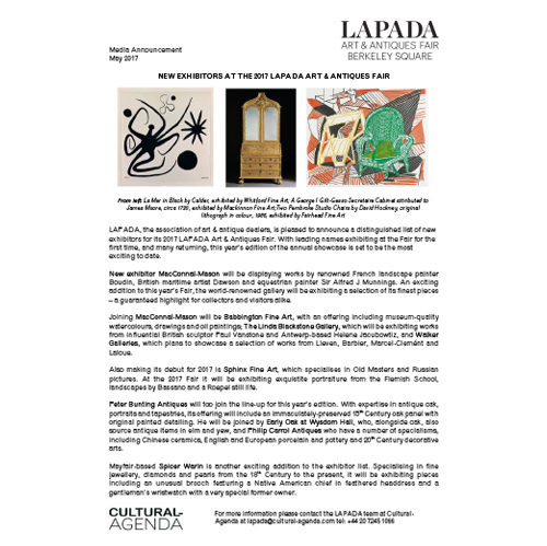 Press Release - New exhibitors at the LAPADA Fair 2017