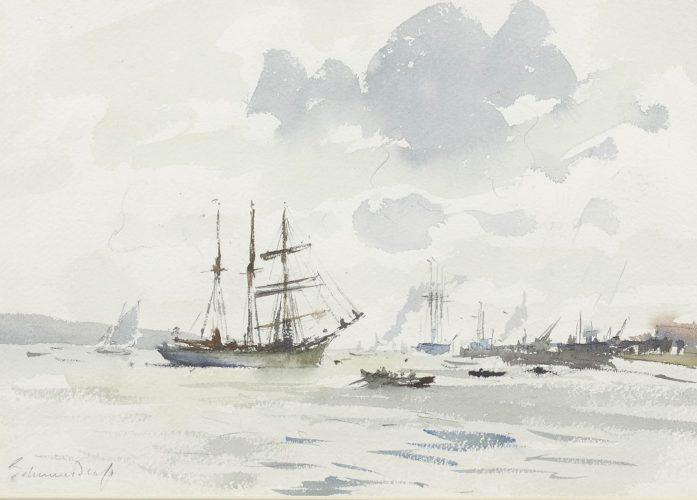 'The Barquentine Gazela on the Tegus' by Edward Seago RWS RBA (1910-1974)