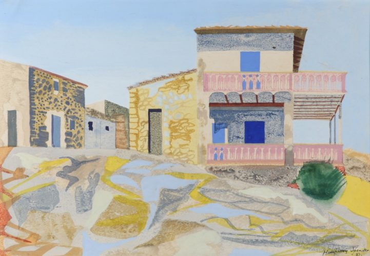 JOHN HUMPHREY SPENDER 1910 - 2005 The Last House, San Telmo, Majorca Pencil, and gouache on paper. Signed & Dated