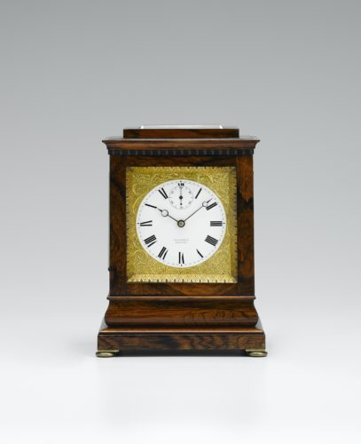 A fine four glass mantel chronometer timepiece in a rosewood case with white enamel chapter dial signed Fletcher London with inset seconds dial, gilt engraved dial surround. Date circa 1845.