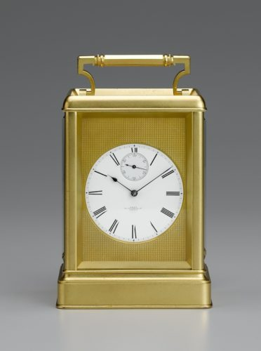 A fine and rare gilt chronometer carriage timepiece. The 3-inch enamel dial signed Dent 33 Cockspur Street, London with seconds dial and set within a gilt engine-turned mask. Date circa 1857.