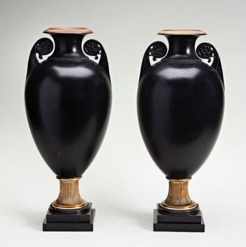 Pair of Black Terracotta Neoclassical Vases