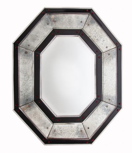 Large Venini glass mirror with cut and bevelled octagonal mirror frame decorated with rosettes and elements in oxidised mirror plate, black and red glass. Venice, Italy circa 1940.