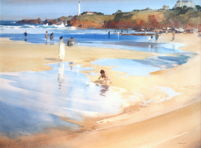 Sir WILLIAM RUSSELL FLINT RA 1888-1969 Cape St. Martin, Biarritz Watercolour, signed, & dated 1920 on label verso 20 x 27 in. (30 x 37 in. framed)