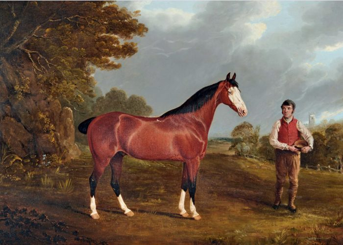 JOHN FREDERICK HERRING, SNR (1795-1865) Whiteface and his groom John Gilham, c.1822 Oil painting on panel 55.9 x 76.2 cm / 22 x 30 in