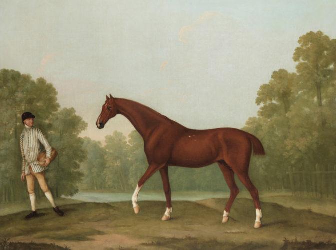 William Shaw (d. 1772), Sir Charles Bunburys racehorse 'Piggy' in a landscape