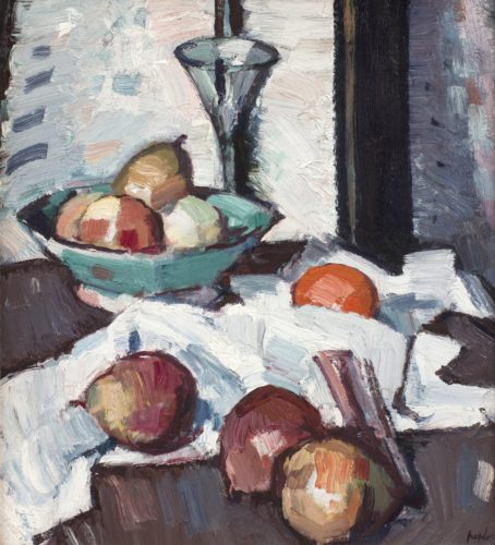 "Samuel John Peploe RSA 1871 – 1935 ""A Still Life of Apples and Pears"". Nationality: British. Canvas size: 17.5"" by 16"". Frame size: 25.5"" by 24"". Oil on canvas, signed. Verso 'Portrait of a Young Woman'."