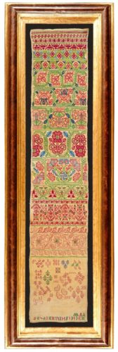 Outstanding mid 17th century band sampler, in fine condition retaining its original colour. English circa 1660.