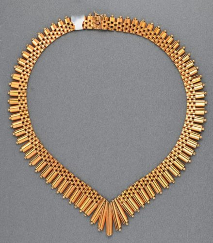 french 18ct gold necklace, 1940c