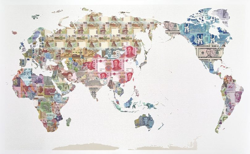 'Money Map of the World: China' by Justine Smith Archival Pearlised Mixed Media Print Ed of 60, launched in 2017 150 x 95 cm