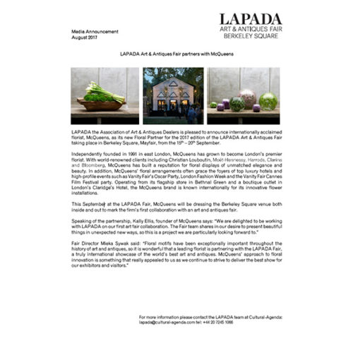 Press Release - LAPADA Fair partners with McQueens