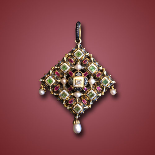 Antique Guiliano Enamel and Gemset Pendant, ca. 1890s