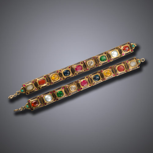 Antique Indian Pair of Navrattan Bracelets, late 18th - early 19th century