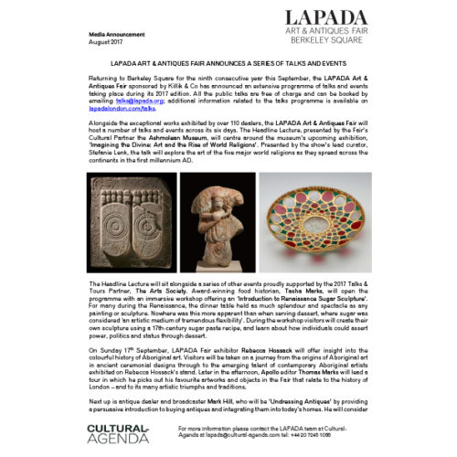 Press Release - Expanded Talks & Events programme at the LAPADA Fair