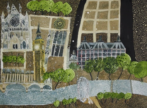 Susan Brown Parliament Square and River 50 x 75 cm Watercolour & Mixed Media