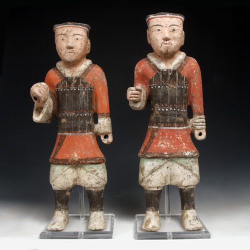 Tall Han Dynasty Pottery Warriors in Armour. Western Han Dynasty: Circa 2nd-1st century BC.