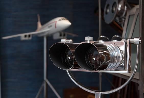 Pair German military binoculars c.1940 and 1:36 scale model of Concorde