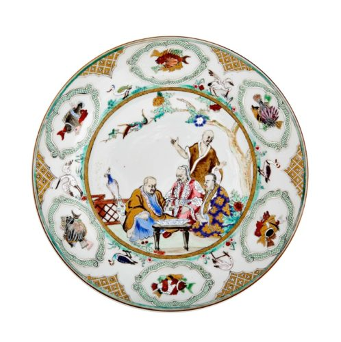 "A Pair of Chinese Export Porcelain Plates decorated with ""The Doctors visit to the Emperor""by Cornelis Pronk, Qianlong c.1740"