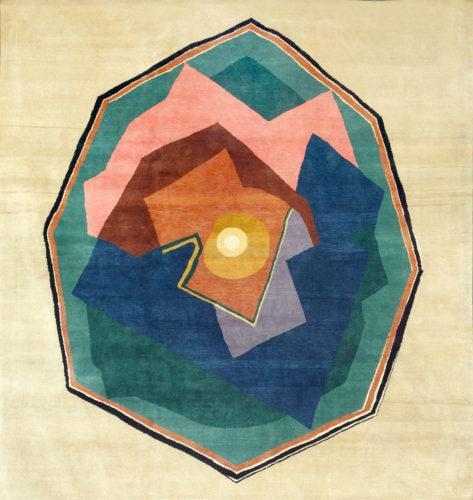 Modern handwoven wool rug after Albert Gleizes Design N.36 Dimensions: 400 x 400 cm Produced by Boccara studio