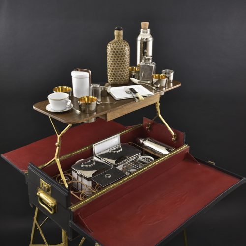 Exceptional 4-person metamorphic motoring picnic hamper / table c. 1920
