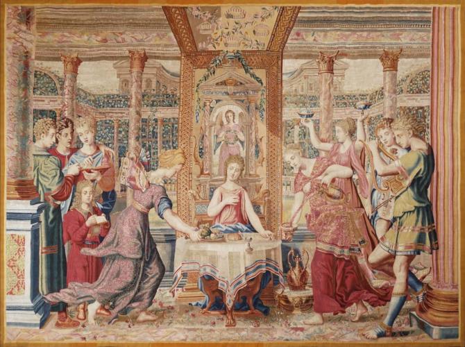 ATELIERS DU FAUBOURG SAINT-GERMAIN 'Le Repas de Psyché' Silk and wool tapestry