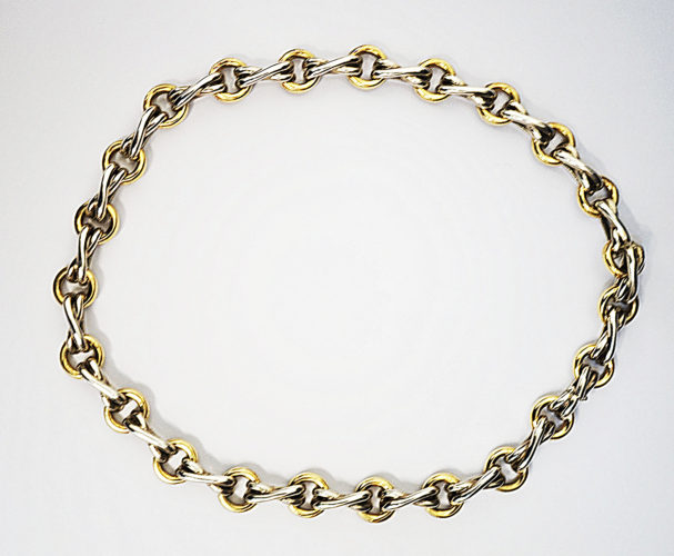 A silver and 18kt yellow gold collar necklace by Paloma Picasso, for Tiffany and Co.