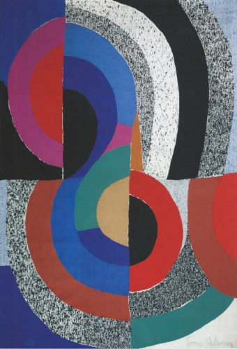 """Sonia Delaunay (France, 1885 - 1979) HIPPOCAMPE Signed """"Sonia Delaunay""""and numbered """"1/6"""" Wool tapestry handwoven by Atelier Saint-Cyr (Atelier Pierre Daquin) 240 x 181 cm Unique piece (confirmed by Mr. Pierre Daquin) Manufactured in circa 1970"""