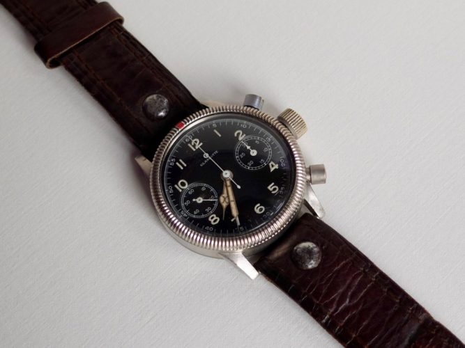 German Luftwaffe Pilots Watch from World War 2 retaining original wartime strap.