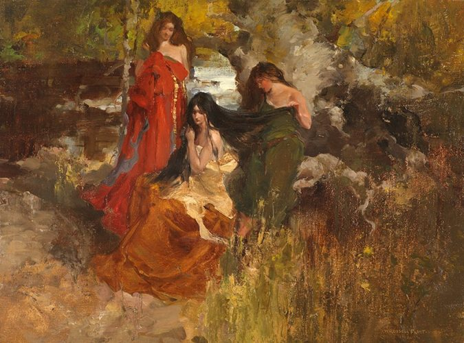 Isoult la Desirous and the Forest Maidens - Sir William Rusell Flint RA, PRWS, RSW (1880-1969)
