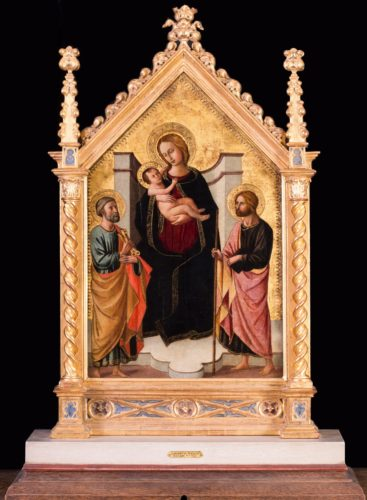 Domenico De Michelino (Florence, 1417-1491) The Madonna and child with St. Peter and John the Baptist Oil on panel, in a carved and gilded tabernacle frame 21.3/4 x 14 in. (55.3 x 35.7 cm.) Provenance: Christie's London, Old Masters and British paintings, lot 72, 14th April 2011
