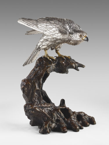Japanese bronze hawk with silvered body 