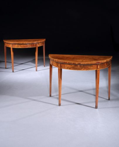 Pair of George 111 mahogany inlaid Demi lune card tables of the Sheraton period c 1795