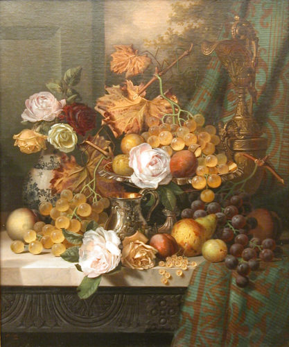 HENRY GEORGE TODD, (1846-1898), Still Life with Roses & Fruit on a Marble Ledge, Signed & dated 1891, Oil on canvas, 24 x 20 ins / 61 x 50.8 cm