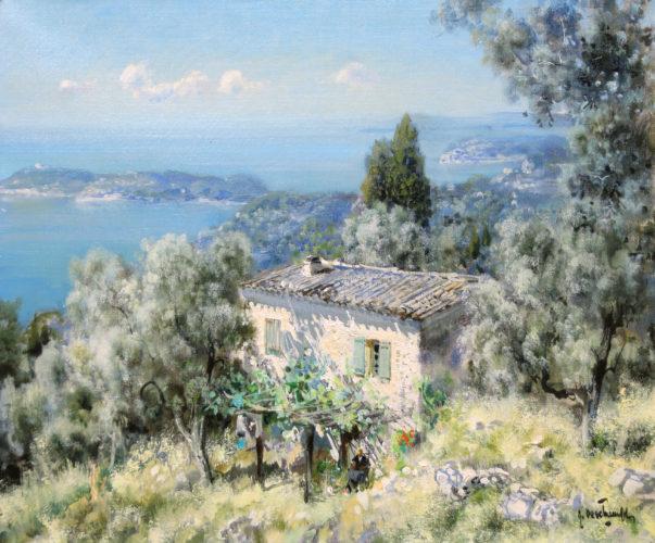 GABRIEL DESCHAMPS, (b.1919), Une Vue d'Eze Vers Cap Ferrat, Côte d'Azur, Signed, Oil on Canvas, 18 x 21 1/2 inches / 47 x 54.5 cms