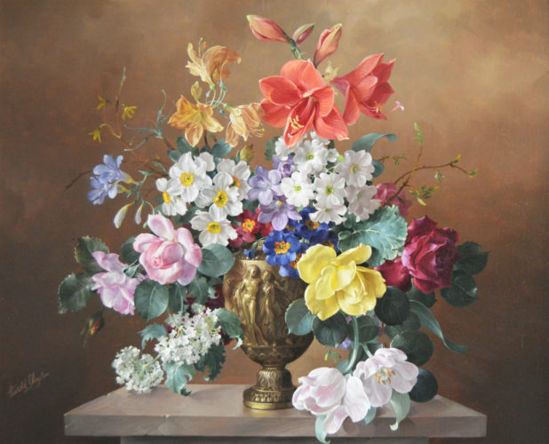 Harold Clayton, British (1896-1979), Flowers in a Bronze Vase, Oil on canvas, signed
