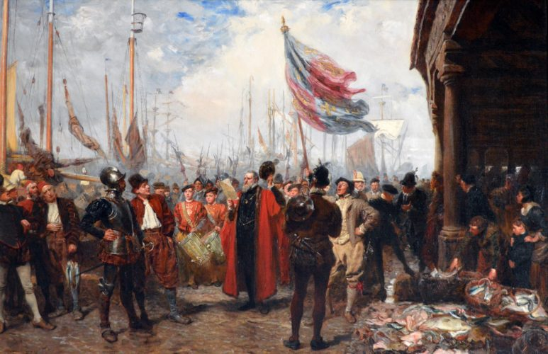 John Seymour Lucas, British, (1849-1923), The Call to Arms, Oil on canvas, signed & dated 1894, Exhibited at the Royal Academy in 1894, catalogue no. 467