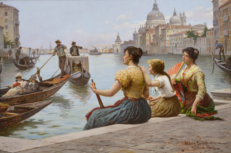 Venice, oil on panel, signed, by Antonio Ermolao Paoletti