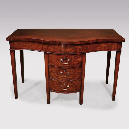 An unusual late 18th Century well-figured mahogany Serving Table having serpentine top fitted with unusual centre section enclosing cutlery drawer & double cellarette drawer, retaining original swan-neck handles, supported on square tapering legs with boxwood strung inlaid kingwood panels. Circa 1780.