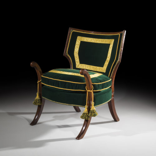 Rare and unusual Regency period Officer's 'Klismos' armchair, circa 1800.