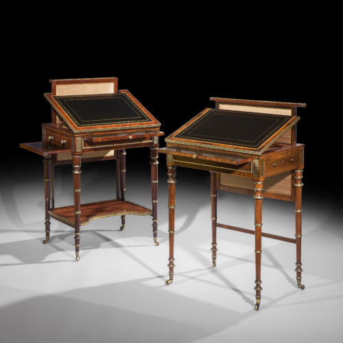 Fine matched pair of early Regency period gilt brass mounted writing tables, firmly attributed to John McLean, circa 1800.