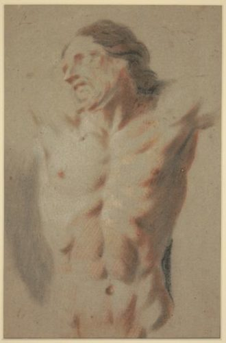 A study of the torso of the crucified Christ. Bolognese School, circa 1600. Red & black chalk on paper. 300 mm x 190 mm