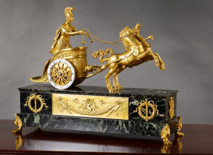 French Ormolu and Marble Chariot Clock. c. 1870