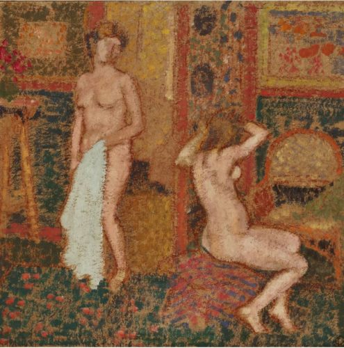 Georges Lemmen (1865 - 1916), Dans l'Atelier, Nus esquisse, oil on board, stamped with artist's monogram