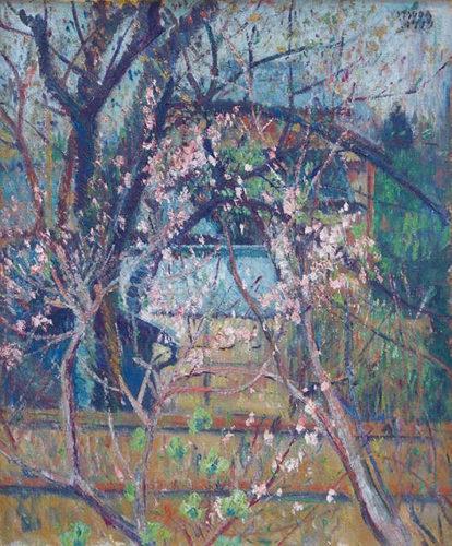 Tsuda Seifu (1882-1978) Momo no koro (Blossoming Peach) Oil on Canvas 1919 47cm x 32cm