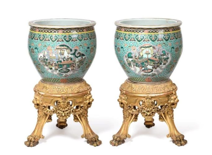 A superb Pair of Chinese Fish Bowls on stands C1820 Ex Lowther Castle