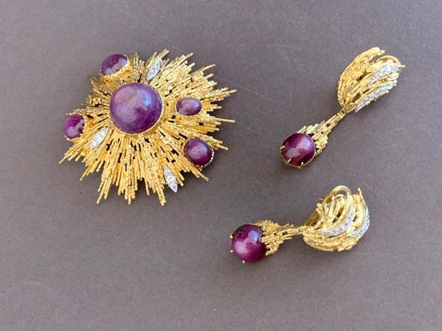 Grima brooch and earings with star ruby stones and diamonds, brooch signed with Grima plaque and earings dated 1975.
