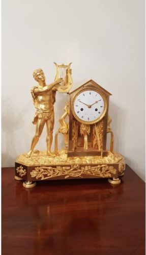 French late 18th c mantel clock of Apollo signed Robert, Paris.