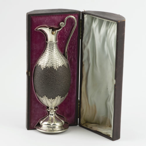 Victorian silver mounted Emu Egg Claret Jug by Kilpatrick of London and Melbourne.